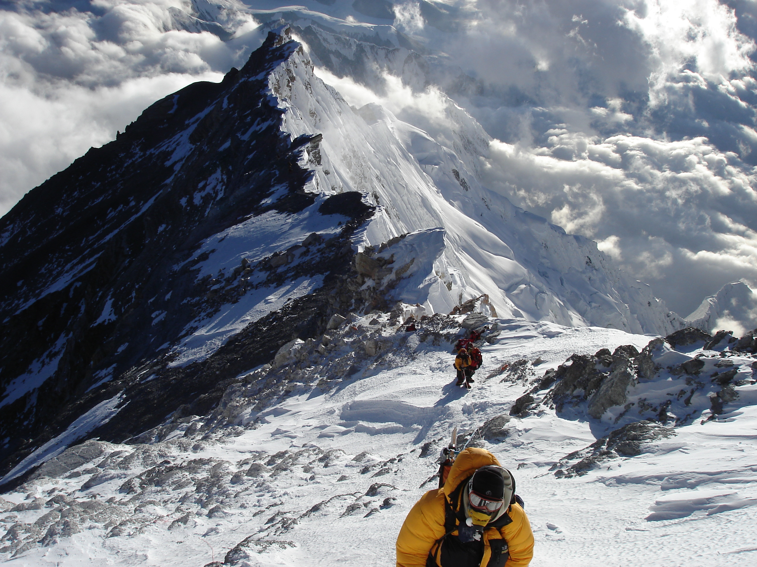 Image: Me [at bottom of pic] approaching the summit.