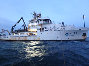 Image: NOAA ship HENRY BIGELOW found us at anchor south of Jones Inlet.