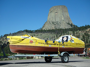 Image: Probably the first ocean rowing boat to visit Devil's Tower...