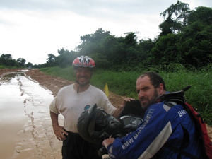 Image: Two South African motorcyclists shared my grief on the muddy section in Tanzania. This is Claudio.