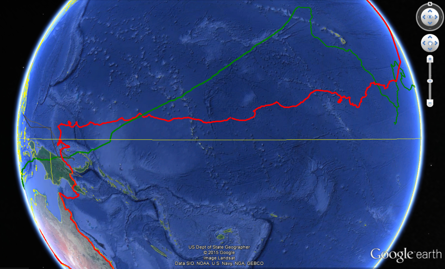Image: The red line indicates the course made true across the Pacific Ocean.