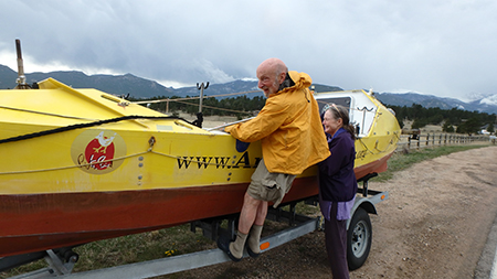 Image: Tom Hornbein was tickled to see my rowboat. His wife Kathy was amused about it all.