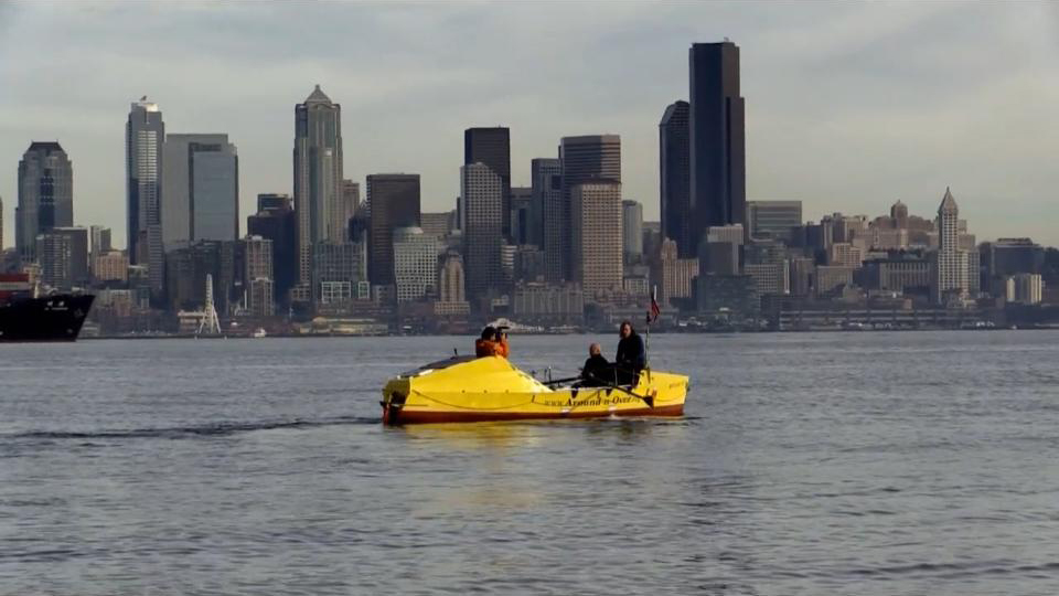"Image: An outing with the ""Yellow Rowboat"" on Elliott Bay."