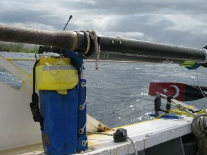Image: ARGOS tracking beacon in position on the boat.