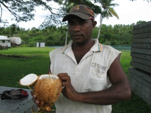Image: Ephraim showed me how to drink the liquid out of a young coconut. It was full of sterile water with a mild taste of the coconut. The meat of the coconut fruit about half a centimeter thick with the consistency of cartilage, lined inside of the shell.