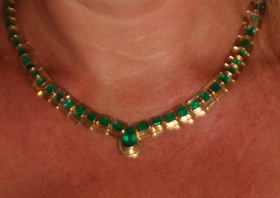 Image: Spending evening trying on emeralds